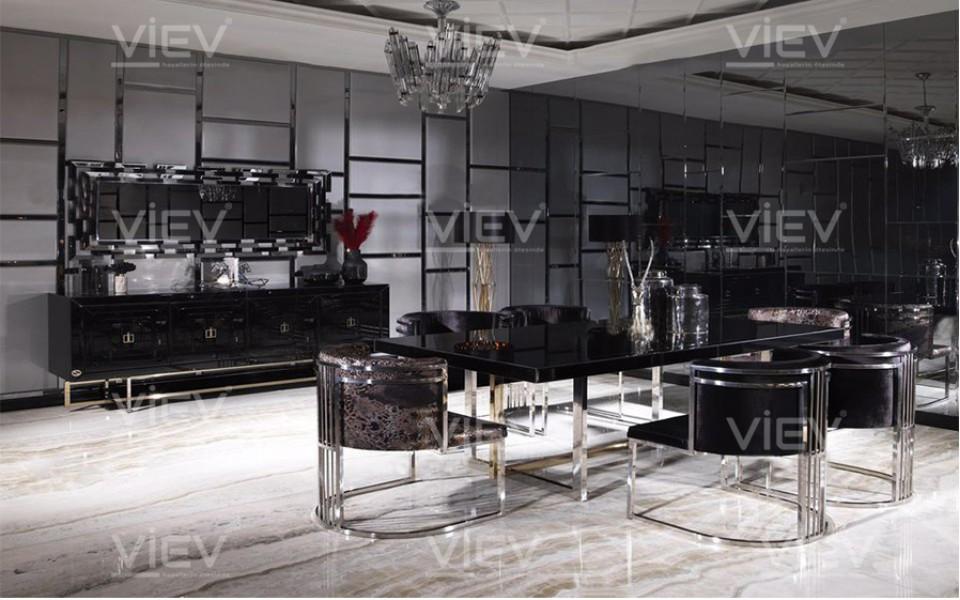 Belgrad Luxury Siyah Yemek Odası Takımı