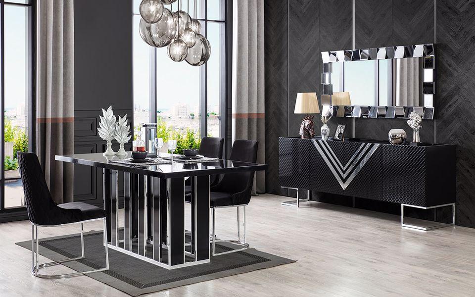 Versace Vip Siyah Yemek Odası Takımı