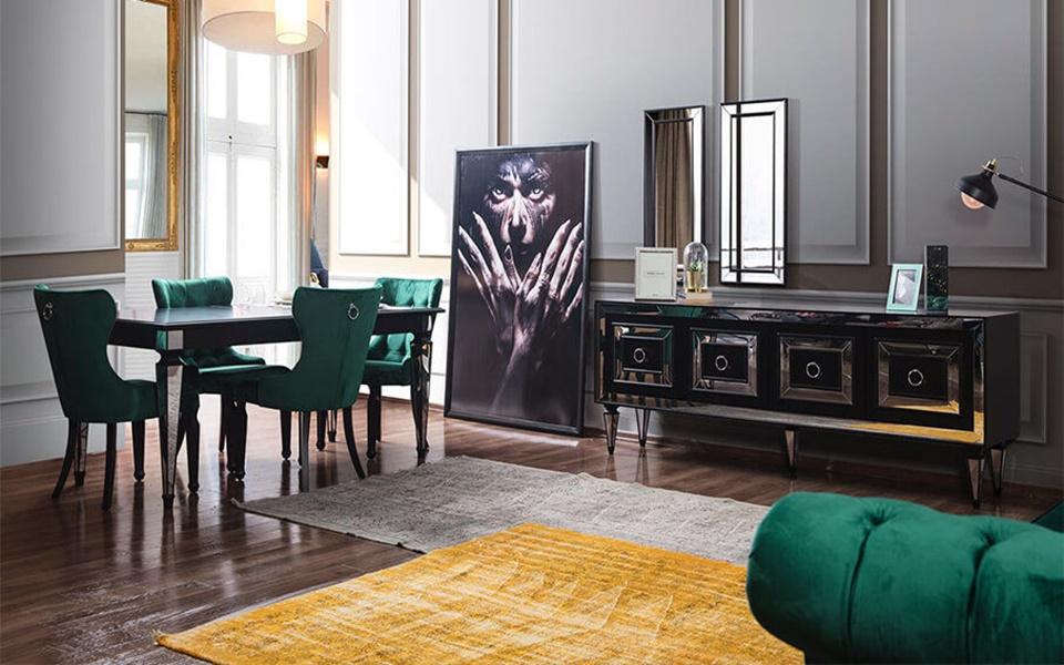 Bianco Art Deco Siyah Yemek Odası Takımı