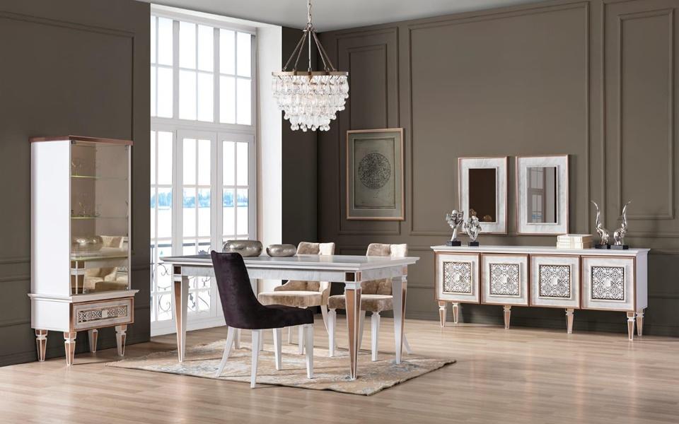 Çırağan Art Deco Beyaz Yemek Odası Takımı